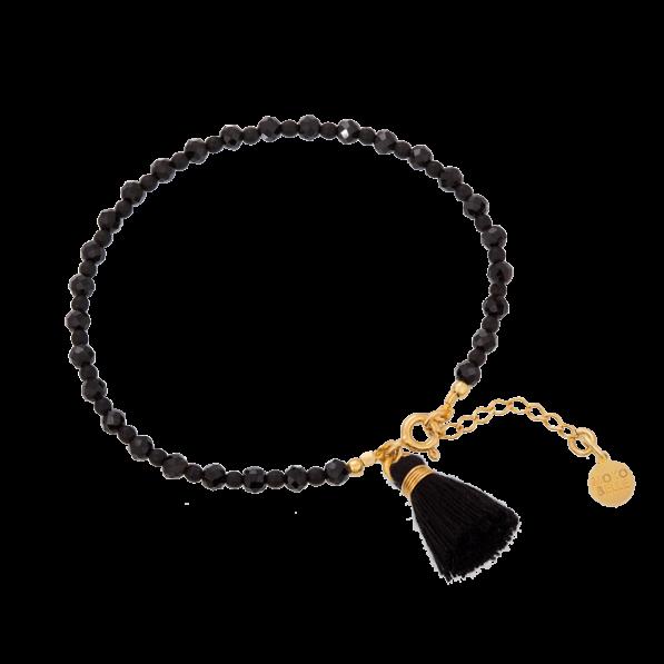 Black spinels and hematites bracelet with tassel