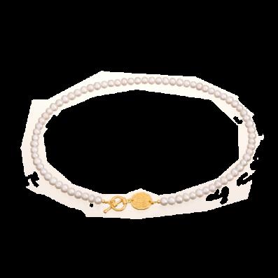 Perłowy choker z medalikiem Mokobelle