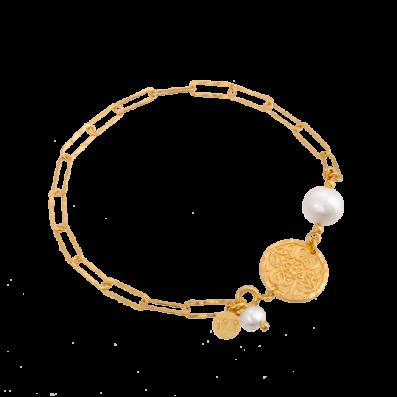 Bransoletka łańcuch z perłą i medalikiem Mokobelle