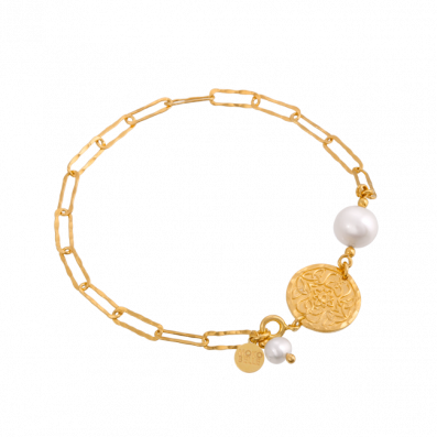 Chain bracelet with pearl and Mokobelle medallion
