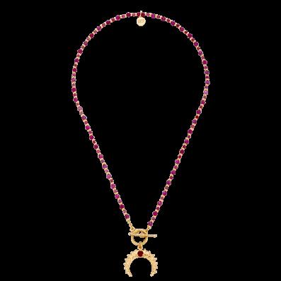 Naszyjnik z rubinami i półksiężycem