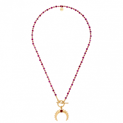 Necklace with rubies and crescent