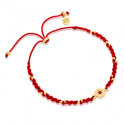 Maroon braided bracelet with rosette