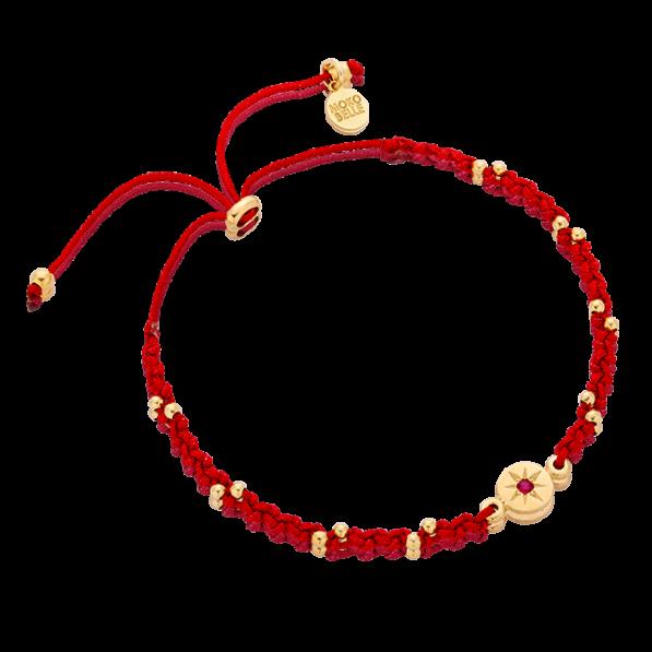 Maroon braided bracelet with rosette