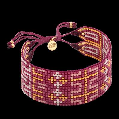 Maroon-gold woven beaded bracelet