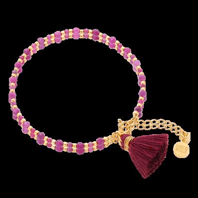 Bransoletka z rubinów z bordowym chwościkiem