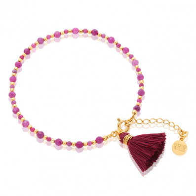 Ruby bracelet with maroon tassel