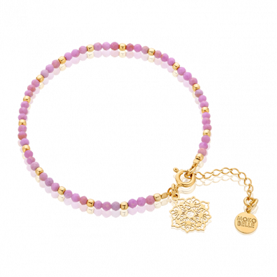 Phosphosiderite stones bracelet with Camelia rosette