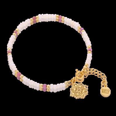Bransoletka z perełek i rubinów z rozetką Camelia