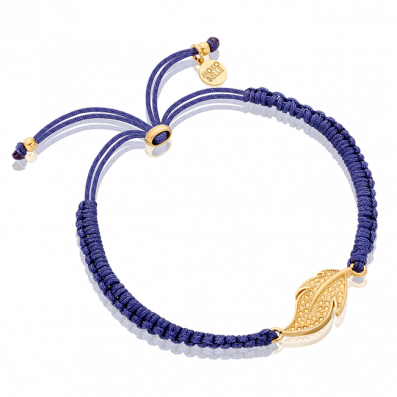 Dark blue thread bracelet with feather pendant