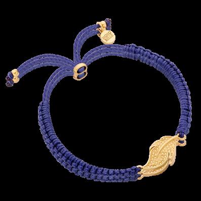 Granatowa bransoletka sznureczek z piórkiem