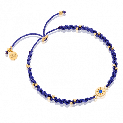 Dark-blue braided bracelet with rosette