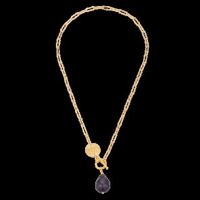 Naszyjnik łańcuch z ciemną perłą