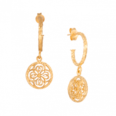 Earrings with Daphne rosette pendant