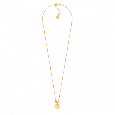 Chain necklace with a coin and engraved letter