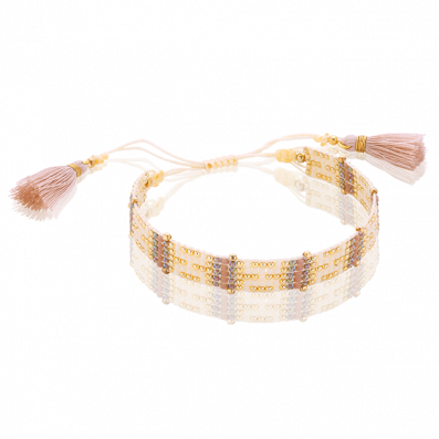 Beige-pink woven beaded bracelet with tassels