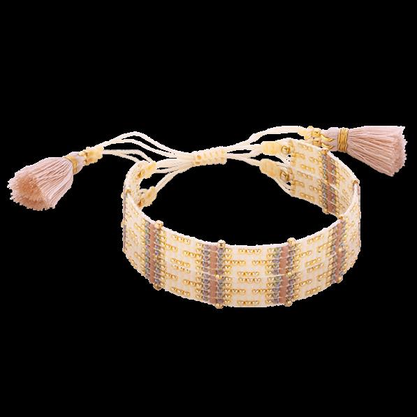 Beige-pink woven beaded bracelet with tassels