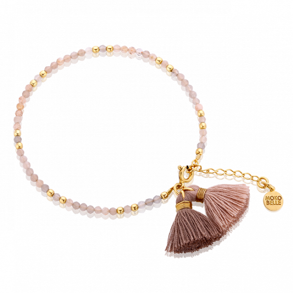 Sun and moonstones bracelet with tassels