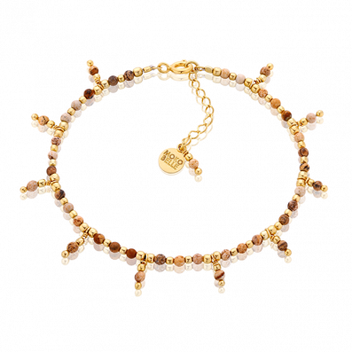 Jaspers and gold-plated beads bracelet