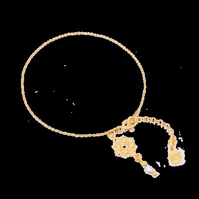 Bransoletka łańcuszek z rozetką Camelia i perełką