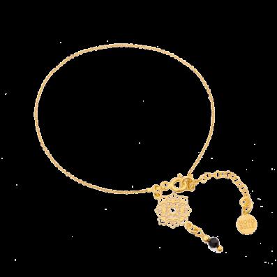 Bransoletka łancuszek z rozetką Camelia i spinelem