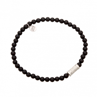 Onyx bracelet with silver element