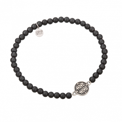Men's onyx bracelet with Chinese coin