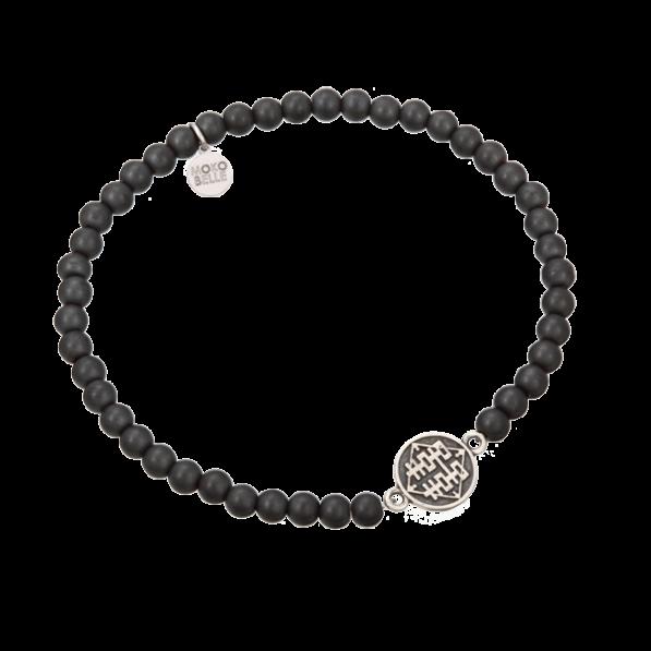 Męska bransoletka z hematytów z chińską monetą