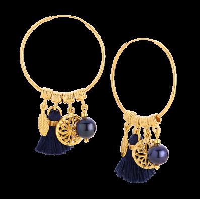 Kolczyki Capri z ciemną perłą