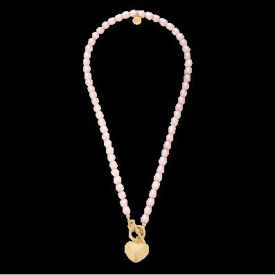 Naszyjnik z różowych pereł z sercem