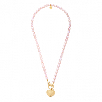 Pink pearl necklace with heart pendant