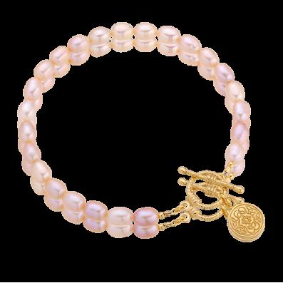 Pink pearls bracelet with Mokobelle pendant