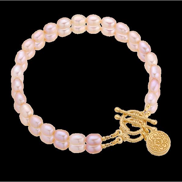 Bransoletka z różowych pereł z medalikiem Mokobelle