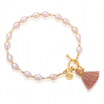 Pink pearl bracelet with a tassel