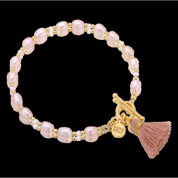 Pink pearl bracelet with a tassel