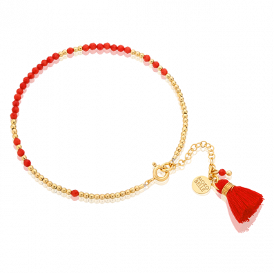 Coral stones and gold-plated beads bracelet with a tassel