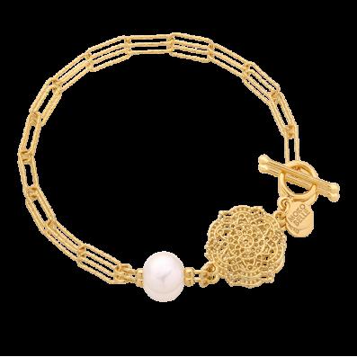 Bransoletka łańcuch z rozetą Estella i perłą