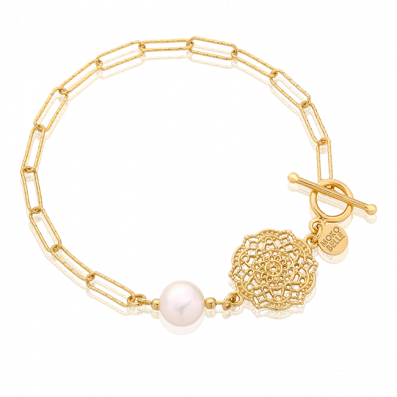 Chain bracelet with Estella rosette and pearl