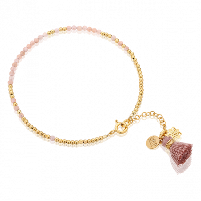 Bracelet with moonstones and gold-plated beads with a tassel