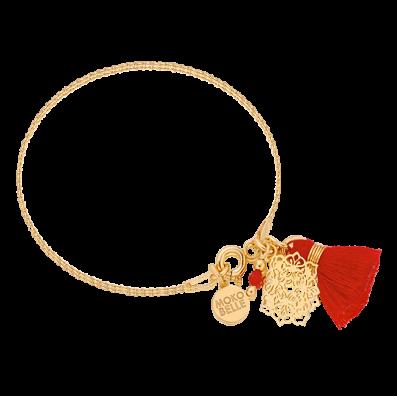 Bracelet with Camellia rosette and tassel