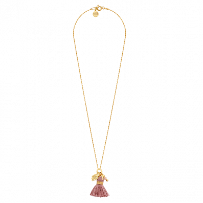 Chain necklace with Dahlia rosette and tassel