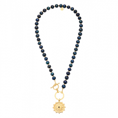 Dark pearl necklace with circle and rosette Solaris