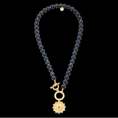 Naszyjnik z ciemnych pereł z kołem i rozetą Solaris