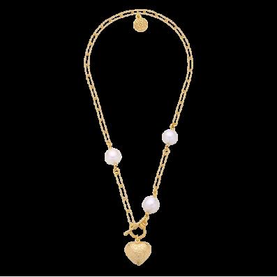 Naszyjnik łańcuch z sercem i trzema perłami