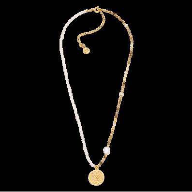 Naszyjnik z pereł i kamieni naturalnych z medalikiem Mokobelle