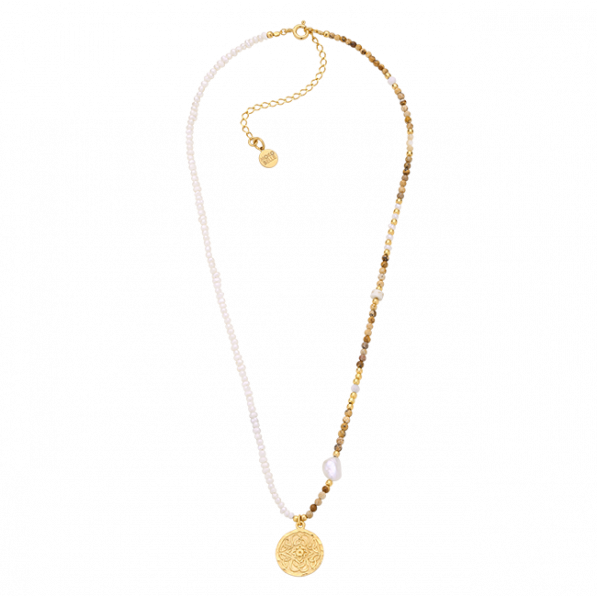 Pearl and natural stones necklace with Mokobelle pendant