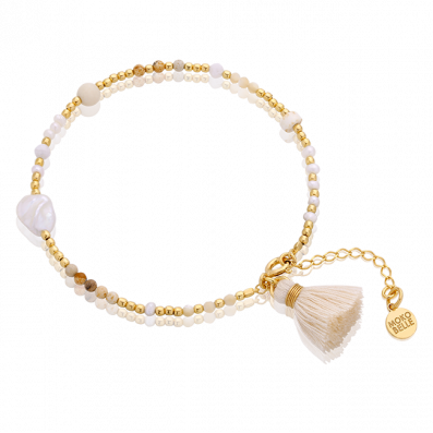 Bracelet with natural stones and pearls with a tassel