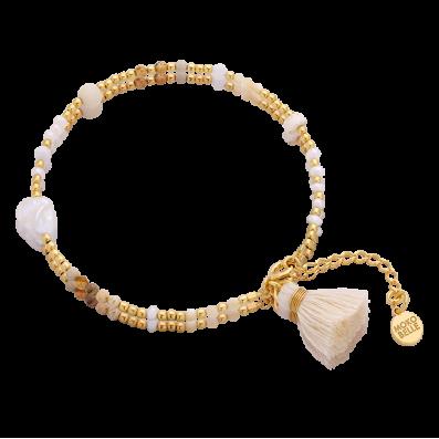 Bransoletka z kamieni naturalnych i perełek z chwostem