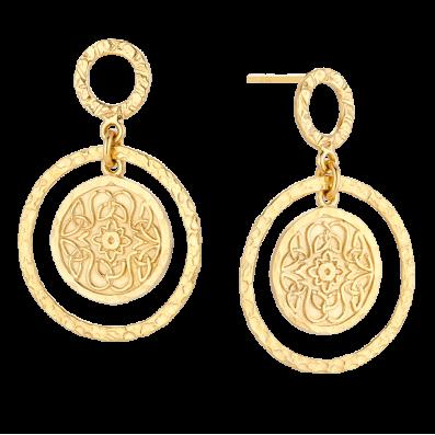 Earrings with Mokobelle medallion and circle