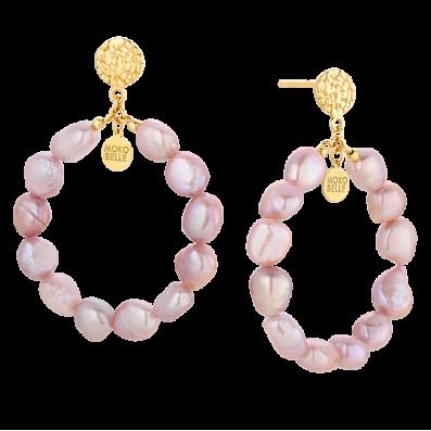 Kolczyki koła z różowych pereł
